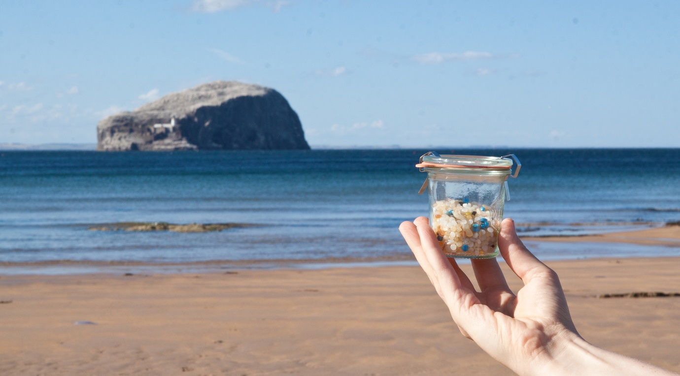 Plastic pellet (nurdle) pollution on East Lothian beach, Scotland